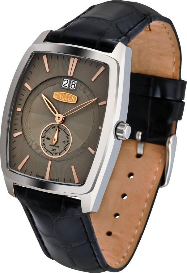 • хронограф с минутным и часовым счетчиками, вынесенная секундная стрелка на цифре 6, дата на цифре 3.